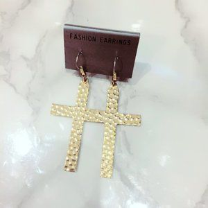 Gold Tone Hammered Cross Earrings